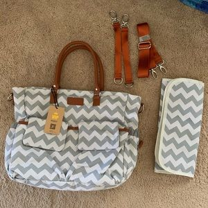 Handbags - Grey and White Chevron Diaper Bag